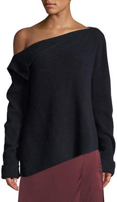 Vince Off-Shoulder Asymmetric Cashmere Pullover Sweater