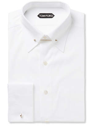 TOM FORD White Slim-Fit Pinned-Collar Double-Cuff Cotton-Poplin Shirt $570 thestylecure.com