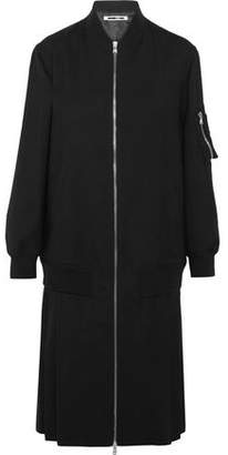 McQ Zip-Detailed Pleated Stretch-Wool Coat