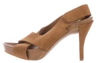 Pedro Garcia Suede Peep-Toe Sandals