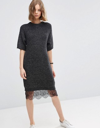ASOS Sweater Dress with Lace Hem Detail $62 thestylecure.com