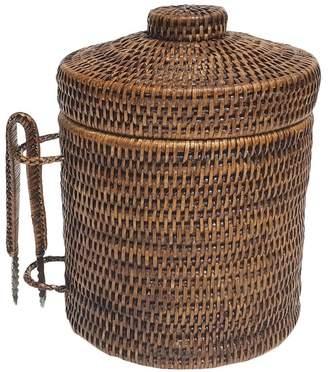 Rattan Ice Bucket & Tongs