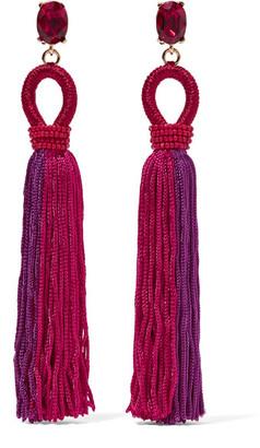 Oscar de la Renta - Tasseled Silk, Gold-plated And Swarovski Crystal Clip Earrings - Pink $425 thestylecure.com