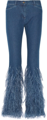 Michael Kors Collection - Feather-trimmed Mid-rise Flared Jeans - Mid denim $1,995 thestylecure.com