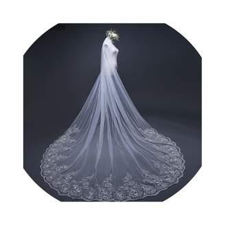Wild Little Cat Real Voile 3M veil One Layer Lace Edge Ivory Cathedral Wedding Veil Long Bridal Veil Veu de Noi longo