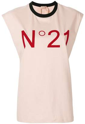 No.21 cap-sleeve logo T-shirt