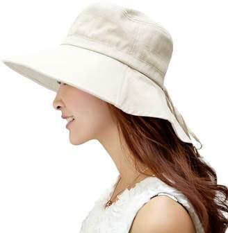 Siggi Womens Wide Brim Summer Sun Flap Cap Hat Neck Cover Cord Cotton UPF 50+ Coffee