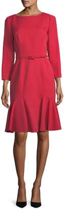 Carolina Herrera Belted Stretch-Wool Flounce Dress, Red