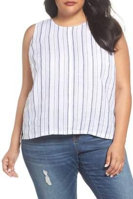 Vince Camuto Stripe Lace-Up Back Linen Top (Plus Size)