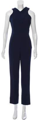 Roland Mouret Cutout Straight-Leg Jumpsuit Navy Cutout Straight-Leg Jumpsuit