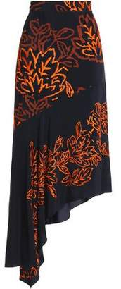 Peter Pilotto Asymmetric Embroidered Silk-Crepe Skirt
