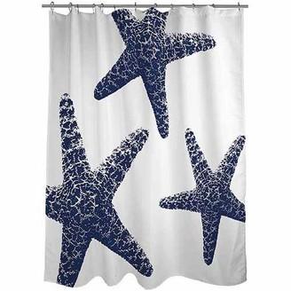 "Thumbprintz Nautical Nonsense Blue White Starfish Shower Curtain, 71"" x 74"""
