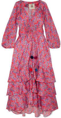 Figue Frederica Floral-print Silk Crepe De Chine Maxi Dress - Pink