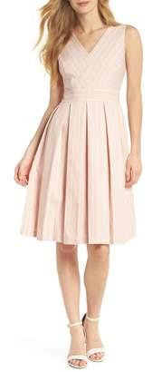Gal Meets Glam Samantha Slub Stripe Fit & Flare Dress