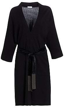 Brunello Cucinelli Women's Velvet Belt Cashmere Robe Cardigan