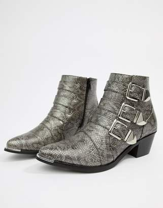 Pieces Snake Effect Buckle Ankle Boot