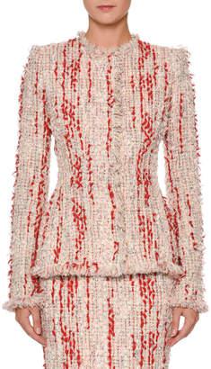 Alexander McQueen Fitted Chiffon Tweed Jacket