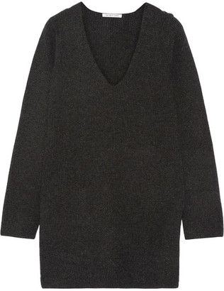Helmut Lang - Waffle-knit Wool And Cashmere-blend Sweater - Charcoal $435 thestylecure.com