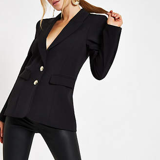 River Island Black button front ponte long sleeve blazer
