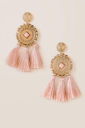 francesca's Parker Statement Tassel Earrings - Pink