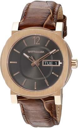 Wittnauer Men's WN1002 22mm Leather Crocodile Brown Strap Watch