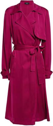 Theory Oaklane Belted Silk-satin Trench Coat