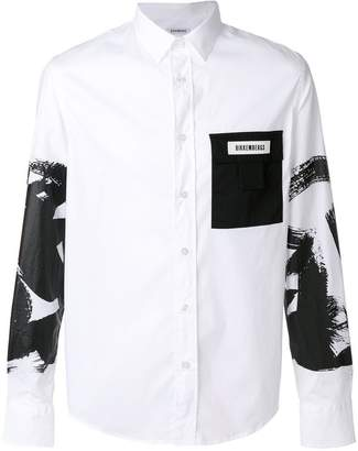 Dirk Bikkembergs contrast pocket printed shirt