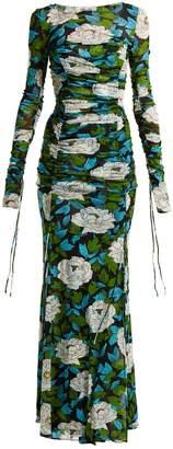 Diane von Furstenberg Boswell floral-print ruched gown