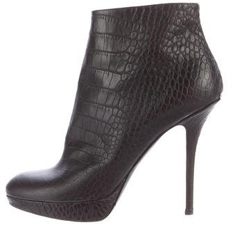 Christian Dior Embossed Round-Toe Ankle Boots