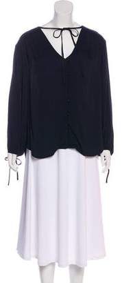 Frame Long-Sleeve Ruched Tunic
