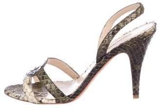 Oscar de la Renta Snakeskin High Heel Sandals