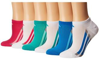 adidas Kids Vertical Stripe No Show Socks 6-Pack Girls Shoes