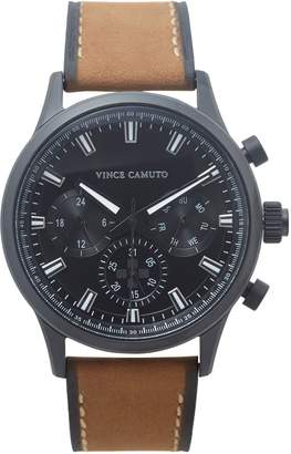 Vince Camuto Triple-subdial Leather-band Watch