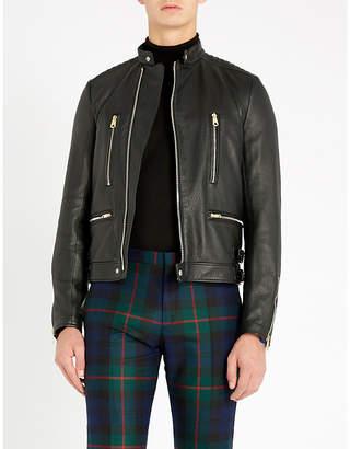 Paul Smith Zipped textured-leather biker jacket