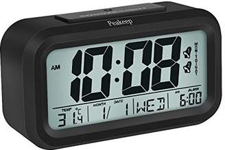 Peakeep Battery Digital Alarm Clock with 2 Alarms for Optional Weekday Mode