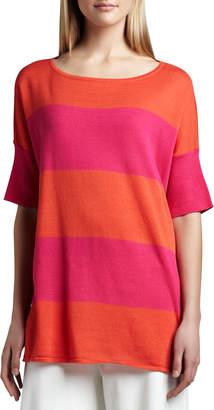 Joan Vass Striped Boxy Sweater, Petite