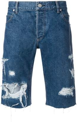 Balmain ripped denim shorts