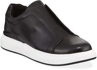 Karl Lagerfeld Paris Men's Laceless Low-Top Leather Sneakers