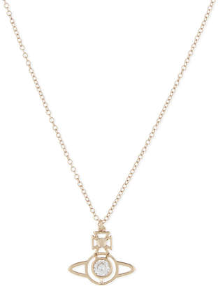 Vivienne Westwood Nora Orb pendant, Whte cubic zirc/pink gld