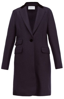 Harris Wharf London Velvet Collar Pressed Virgin Wool Felt Topcoat - Womens - Navy Multi