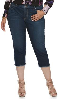 JLO by Jennifer Lopez Plus Size Raw-Edge Capri Jeans