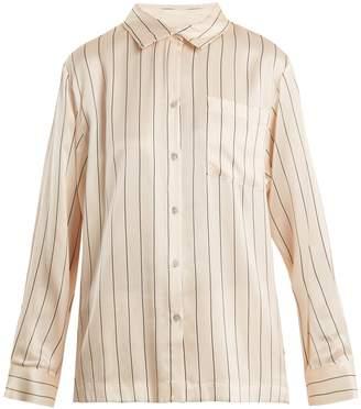 ASCENO Patch-pocket striped silk pyjama shirt