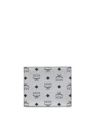 MCM Men's Visetos Original Two-Fold Wallet, Silver