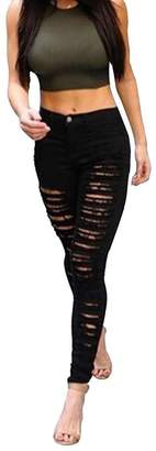 Olrain Womens Destroyed Ripped Hole High Waist Stretch Skinny Jeans