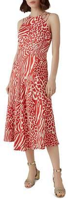 Karen Millen Strappy Animal-Print Midi Dress