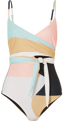 Mara Hoffman Isolde Belted Printed Swimsuit - Peach