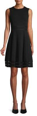Calvin Klein Sheer Trim Roundneck Dress