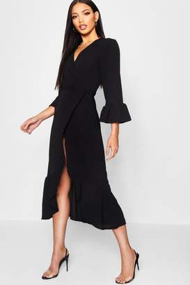 boohoo Wrap Front Ruffle Hem Long Sleeve Midi Dress