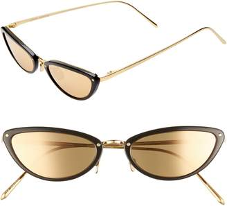 36895c639589 Linda Farrow 50mm Cat Eye Gold Trim Sunglasses