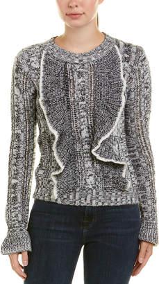 Central Park West Calle Ocho Ruffle Wool-Blend Sweater